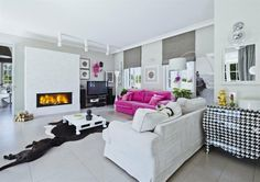 Beautiful living room with pink sofa