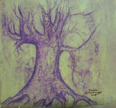 Yggdrasil Oil-pastel on paper,... by daniela schachinger