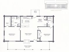 Log Cabin House Plans, Log Cabin Homes, Front Elevation, Great Rooms, Front Porch, Retirement, Deck, Floor Plans, How To Plan