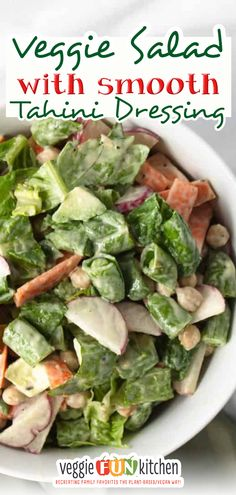This recipe for veggie salad with a lemon tahini dressing is crunchy, flavorful, full of nutrition, and so easy to make! Make this crunchy vegetable salad with romaine lettuce, carrots, sliced radishes, snap peas, avocado, and chickpeas. Top off with a delicious, lemony, smooth, tahini dressing you can whip up in seconds! The best salad will have a little crunch, a little chew, and a little creamy or soft. | @veggiefunkitchen #veganmemorialdaysalad #veganpotlucksaladrecipe