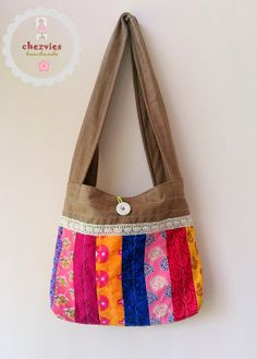 Made to Order  Patchwork small tote  sling bag by chezvies on Etsy, $23.75