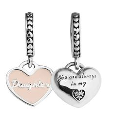 Fits pandora Bracelet Mother & Daughter Hearts Charm 925 sterling silver jewelry DIY Making Original charm beads Mother Day