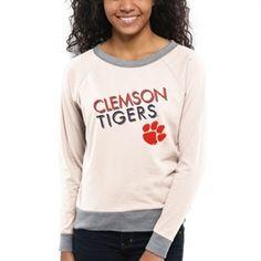 Women's Clemson Tigers Cream Crazy Love Boat Neck Long Sleeve T-Shirt