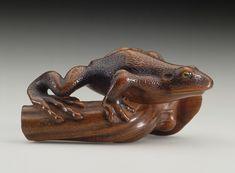 Frog on Mushroom netsuke.  Matsuda Sukenaga (Japan, 1800-1871).  Japan, mid- Wood with inlays