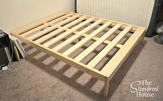 miss minimalist bed frame – ikea slat board and … Diy Twin Bed Frame, Simple Bed Frame, Bed Frame Plans, Full Bed Frame, Easy Frame, Bed Plans, Homemade Beds, Homemade Bed Frames, Floating Bed Frame