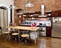 loft apartment kitchen | exposed brick kitchen