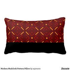 Modern Mud Cloth Pattern Pillow $38.95 #africanpatterngifts #zazzle
