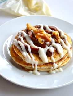 Healthy Cinnamon Roll Pancakes - made with all ingredients you probably already have or are available at normal grocery stores