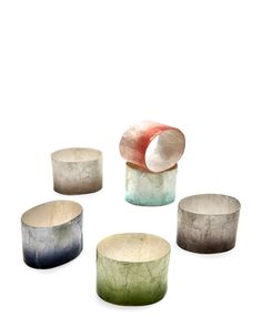 Deborah Rhodes Set of 4 Dip-Dye Napkin Rings