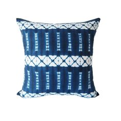 The bold blue hues on this indigo dyed linen cushion are achieved using Japanese Shibori technique. The earliest example of this technique dates from the 8th century. - Fabric: Linen and indigo - Size