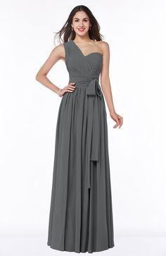 Grey Modern A-line Half Backless Chiffon Floor Length Ruching Plus Size Bridesmaid Dresses