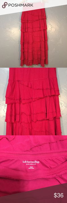 NWOT Soft Surroundings Ruffle Maxi Skirt Size S Size Small. Hot pink color. Diagonal ruffle. Very unique. Soft Surroundings Skirts Maxi