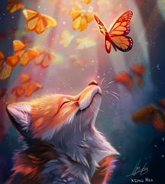 Monarch butterflies and foxes looks awesome together, must do a hybrid of them next 😎. I should change my art account to a fox account… Cute Animal Drawings Kawaii, Cute Cartoon Animals, Anime Animals, Cute Little Animals, Cute Drawings, Wolf Artwork, Mythical Creatures Art, Cute Animal Photos, Fox Art