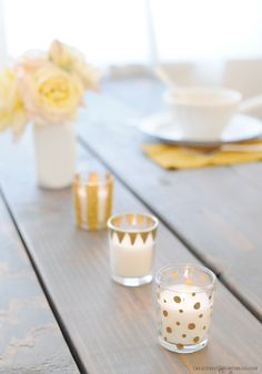 You can make these glam votives in less than 10 minutes using the exclusive DIY Gilded Votives Kit that I collaborated on with Darby Smart. | http://www.darbysmart.com/projects/gilded-votives