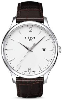 ed2ade7c3a1 Tissot Men s Tradition Brown Leather Band with White Dial Watch