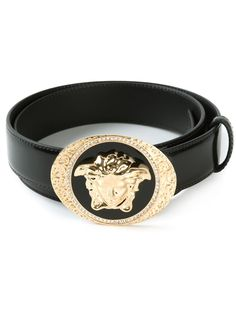 Black and gold-tone calf leather and Swarovski crystals Medusa buckle belt from Versace.
