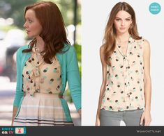 f11e0f945d Cassandra s polka dot top on The Librarians. Outfit Details  http   wornontv