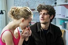 "Lily in the role of Eve seduces Louis Garrel as Abel in a scene from the movie ""A Faithful Man"" Louis Garrel, Lily Rose Melody Depp, Man Movies, Movie Tv, Barbie Ferreira, Photography Poses For Men, French Films, Film Stills, Beautiful Men"