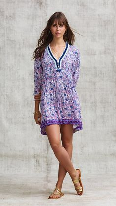 660ed4f2b395aa Poupette St Barth · Products · DRESS OLA LONG SLEEVE - BLUE ASTER