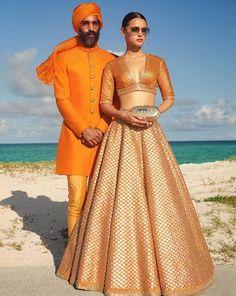 Golden Bridal Lehenga, Indian Bridal Lehenga, Wedding Lehenga Designs, Designer Bridal Lehenga, Orange Fashion, Indian Fashion, Orange Lehnga, Bridal Lehenga Collection, Sabyasachi