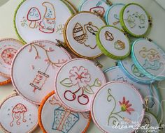 love the ribbon wrapped embroidery hoops!!