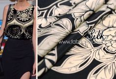 "Pure silk fabric/ black and white silk/ Indian fabric / black white silk/ floral print fabric/ mulberry silk/ floral silk/16mm width53"" by fabricAsians on Etsy https://www.etsy.com/listing/221141354/pure-silk-fabric-black-and-white-silk"