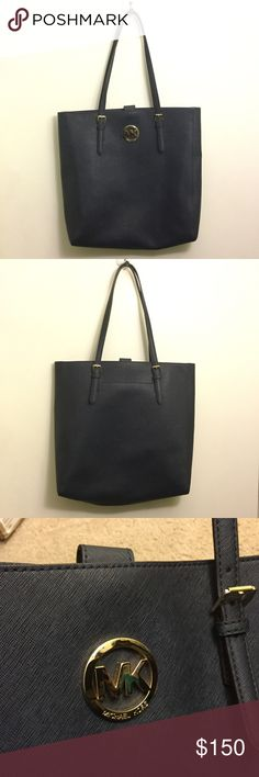 """Michael Kors Large Tote - Navy Blue Authentic Michael Kors dark navy blue tote with gold colored hardware. Used but still in excellent condition! 13.5""""L x 13""""W x 3.5""""D. Strap drop is about 9.5"""", double straps. Saffiano leather, very nice and practical! 1st top picture, blue purse on left best depicts actual color. 2nd, 3rd, and 4th pictures are of actual purse. Michael Kors Bags Totes"""
