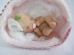 Tiny Hand Sculpted Miniature Baby Girl Polymer Clay