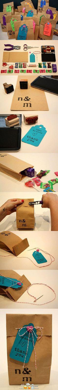 Hacer bolsitas de papel madera para regalo y etiquetas o tarjetas