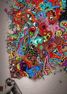 Trippy Psychedelic Art | my gif art trippy psychedelic spray chaaoos woa