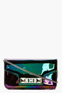 PROENZA SCHOULER Black Iridescent Oil Slick Leather PS11 Chain Clutch-Silver tone hardware. Foldover flap at main compartment with magnetized press-stud closure and signature hardware. Flap pocket at exterior face with twist-clasp closure and cinch belt detail. Removable curb chain shoulder strap with lanyard clasp. Welt pocket at bag interior. Fully lined.Made in Italy.Price: $1100 USD  SEE DETAILS: http://www.designerhandbagspurses.net/designer-handbags-are-worth-the-splurge/