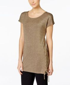 INC International Concepts Cap-Sleeve Lace-Up Tunic, Only at Macy's | macys.com
