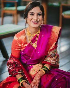 Marathi Brides Who Wore The Prettiest Plum Sarees! Indian Wedding Planning, Indian Wedding Outfits, Wedding Attire, Indian Outfits, Marathi Bride, Marathi Wedding, Saree Wedding, Plum Wedding, Wedding Looks