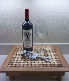 DIY Wine Cork Table - I've always wanted to DIY something with corks and this is super cute!