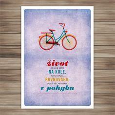 život je jako jízda na kole... retro plakát A4