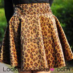 Pretty High Waist Short Hairy Faux Fur Knife Flared Pleats Leopard Mini Skirt