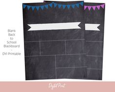 Back To School Template, First Day of School Chalkboard, DYI Printable, Blank Chalk Board Sign, Instant Download, 16x20 Print, Digital File by AlwaysPrintables on Etsy