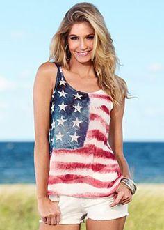2716e824948 Trendy american flag shirt Sleeveless Tops