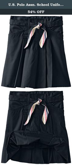 U.S. Polo Assn. School Uniform Big Girls' Twill Scooter with Reversible Dot Print Belt, Navy, 10. Twill scooter with reversible dot print to solid belt.