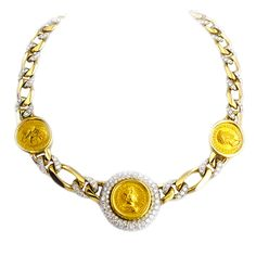 Bulgari 18kt Gold Roman Ancient Coin Diamond Necklace   From a unique collection of vintage choker necklaces at https://www.1stdibs.com/jewelry/necklaces/choker-necklaces/