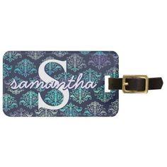 #Peacock Purple Teal Monogrammed Custom Luggage Tag - #luggage #tags