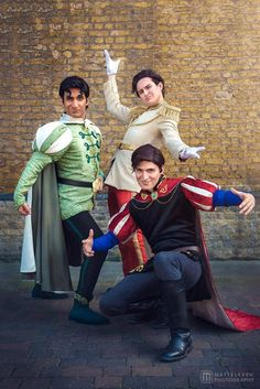 Prince Naveen, Prince Charming & Prince Phillip from Disney Cosplay by Lele Draw cosplay & RossECobb cosplay & Jagged Rey cosplay photo by MattEleven Photography #disneycosplay #cosplayclass #costume