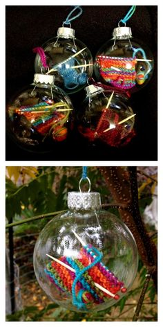 "DIY Knitting Ornament Free Pattern from Ravelry User holeymolee. Make this easy DIY Knitting Ornament on Size 2 needles, switching to a toothpick for the last row. In the comments, someone mentioned that they had bought cheap miniature ""bamboo knitting needles"" online - and this was much easier than making decorative toothpick knitting needles. You have to be a member of Ravelry to see this pattern. Ravelry membership is free and there is never spam."