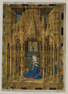 Two Leaves from a Book of Hours, Representing the Annunciation, 1465  Master of Charles of France  French (Bourges)  Tempera and gold leaf on vellum