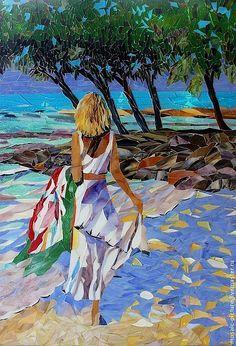 Buy The Girl at the Seaside, a mosaic Installation on Glass, by Larisa Iakovleva. Mosaic Artwork, Mosaic Wall Art, Mosaic Glass, Stained Glass, Glass Art Pictures, Mosaic Pictures, Mosaic Portrait, Alberto Giacometti, Mosaic Crafts