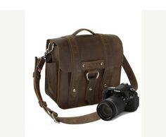 "10 ""Safari de Napa marron cuir sac photo-"