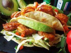 Adobo Shrimp Tacos with a Jalapeño Slaw - QueRicaVida.com