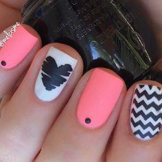 neon x matte x mix & match . Chevron Nail Designs, Heart Nail Designs, Fingernail Designs, Cute Nail Designs, Crazy Nails, Love Nails, Pink Nails, My Nails, Toe Nail Art