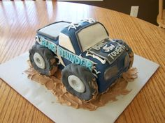 Posts about Kids Birthday Cakes written by bethannray Monster Truck Birthday Cake, Monster Truck Party, Race Car Cakes, Truck Cakes, Birthday Cake Writing, 3rd Birthday Parties, Birthday Ideas, Birthday Cake Decorating, Creative Cakes