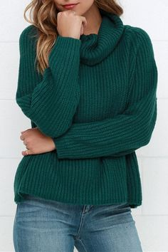 Greenish Black Turtleneck Ribbed Pullover Sweater